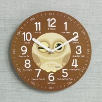 (kdrz129)키다리 저소음 부엉이 영어 교육용 시계 갈색