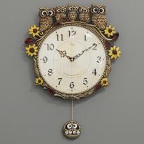 (kspz269)저소음 해바라기부엉이시계 골드