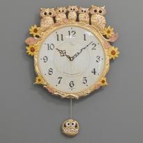 (kspz271)저소음 해바라기부엉이시계 금핑크