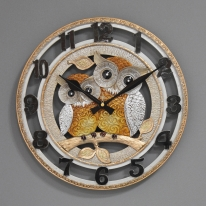 (ksol005)저소음 오렌지 부엉이시계