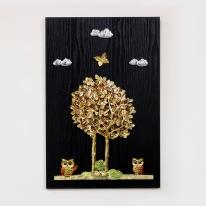 (kdyg006)행복나무 부엉이 벽장식(40*60)