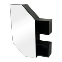 폴라 전면거울 원목 욕실장(블랙)-T