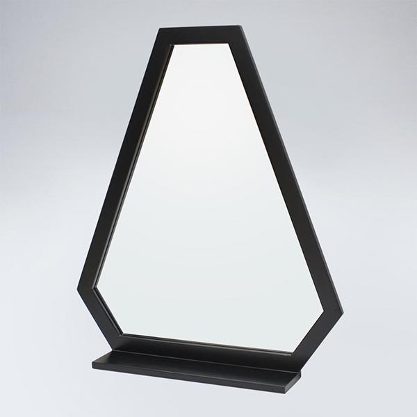 트라이앵글 원목 선반형 거울(블랙)