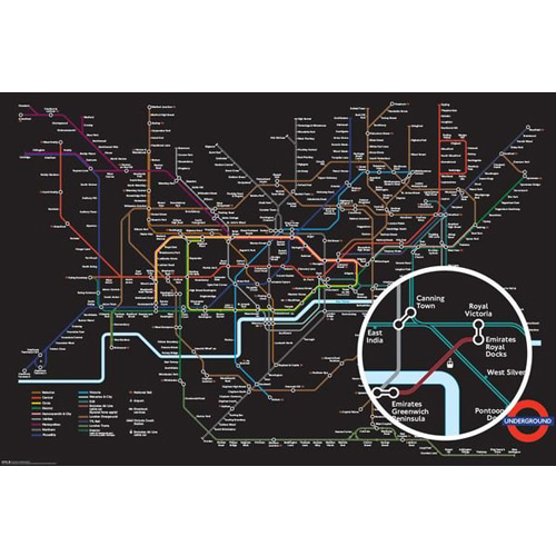 GN0872 런던지하철 블랙맵 (91x61)