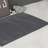 포근한 웨이브 극세사 욕실매트 진그레이 45x65