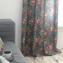 멜로디 블루꽃 커튼 한장 100x230
