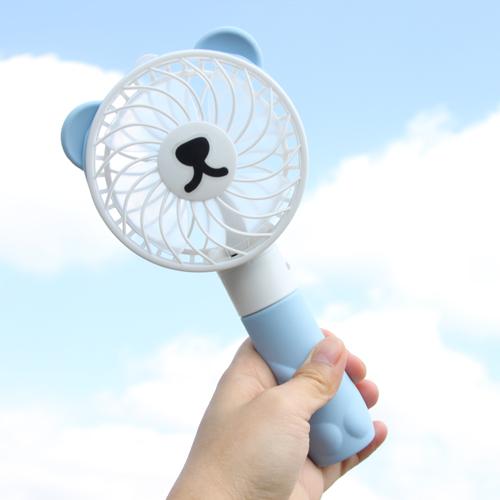 귀쫑긋 곰돌이 대용량 충전식 핸디 선풍기(이모티콘 7종 포함)