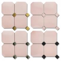 [타일닷컴]옥타곤 팔각 150mm 모자이크 핑크 11장-1㎡  현관 주방 욕실 타일