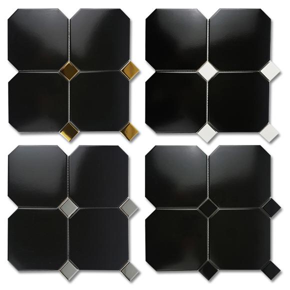 [타일닷컴]옥타곤 팔각 150mm 모자이크 블랙 11장-1㎡  현관 주방 욕실 타일