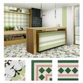 [타일닷컴]북유럽 패턴타일 200mmx200mm (2094) 자기질타일 주방 현관 욕실 포인트타일 벽 바닥타일