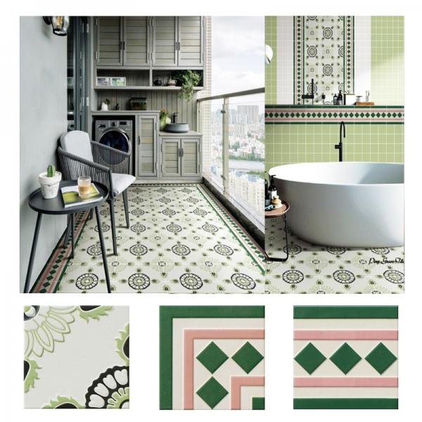[타일닷컴]북유럽 패턴타일 200mmx200mm (2096) 자기질타일 주방 현관 욕실 포인트타일 벽 바닥타일