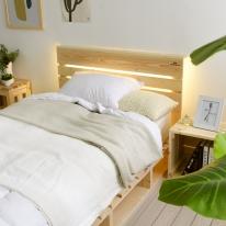 LED조명 원목헤드 (수퍼싱글/퀸/사이드) 침대프레임 설치용 수납 선반