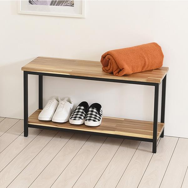 솔로800선반형 다용도 원목 철제프레임 보조 신발 선반장 사이드 멀티 테이블