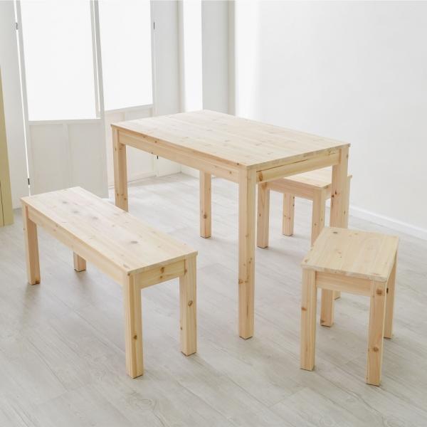 삼나무원목 4인가족식탁 세트 테이블 의자 벤치 예쁜책상 슬림 사이드 테이블