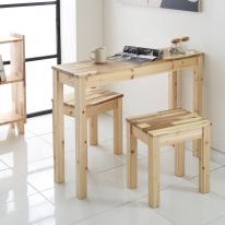 원목 사이드테이블 부부식탁 1인의자 세트 화장대 사이드 보조 책상 (테이블&벤치 세트상품)