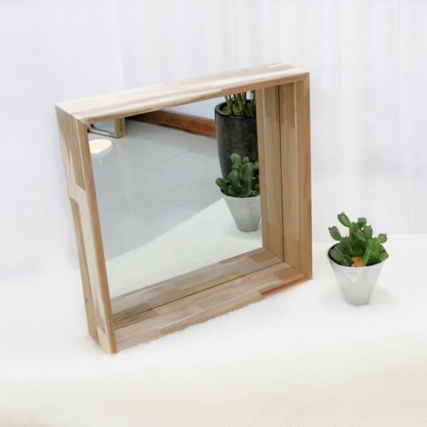 아카시아 원목 인테리어 벽거울 욕실 화장대 거울