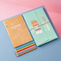 [럭키스] 세계지도 컬러링북 색연필 세트