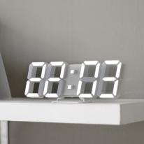 [무아스] 프리미엄 리얼 3D LED 화이트 시계