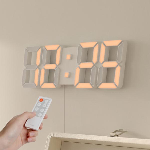 [무아스] 퓨어 화이트골드 30cm 슬림형 led 벽시계 (M) 리모컨 3D 거실시계