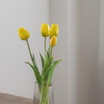 [포홈]옐로우 튤립 부쉬 (조화/꽃/leaf)