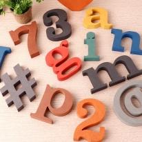 컬러 MDF 에코보드 이니셜 알파벳 A~Z 대문자 소문자 기호 숫자 인테리어 나무소품 DIY