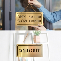 오픈클로즈/솔드아웃 양면걸이 금색 NG2004로즈골드 영업시간 표찰 사인보드 미니간판