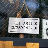 오픈클로즈 단면걸이 은색 영업시간 NS1005 사인보드 안내표지판 팻말