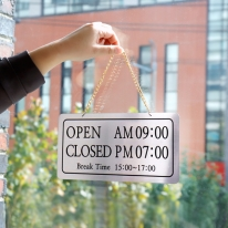 오픈클로즈브레이크타임 단면걸이NS1006 은색 표찰 사인보드 미니간판