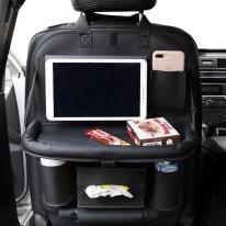 차량용 뒷자석 다용도 수납함 멀티 테이블 시트포켓 (black)