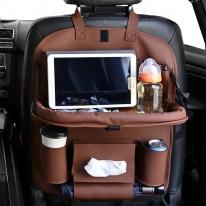 차량용 뒷자석 다용도 수납함 멀티 테이블 시트포켓 (brown)