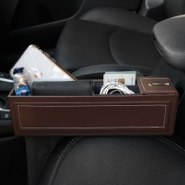 자동차 틈새 수납함 차량용 사이드포켓 동전수납형 (brown)