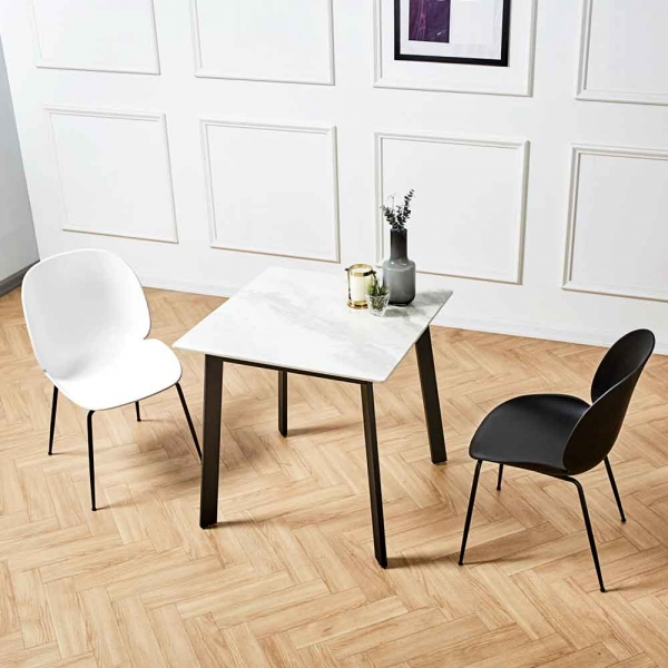 제네로이 2인용 세라믹 식탁 카르보 8602 튤립 의자 세트
