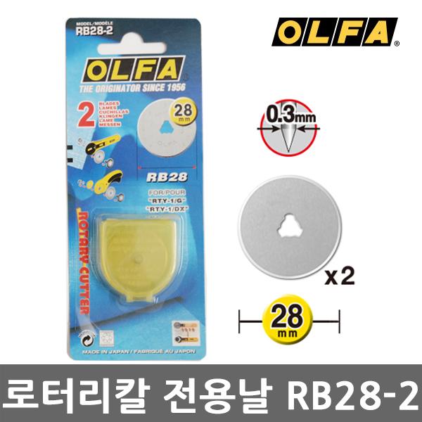 올파 로타리 커터날 RB28-2 (28mm) 재단칼날 곡선용 RTY-1C,PRC-3 로타리날