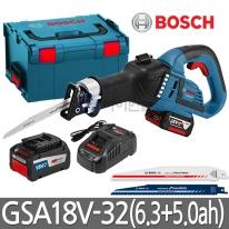 보쉬 브러쉬리스 충전컷소 GSA18V-32 브러쉬리스모터 6.3Ah+5.0ah배터리