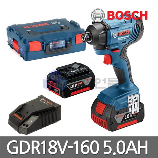 보쉬 충전 임팩트 드라이버 GDR18V-160 18V 5.0Ah 배터리2개