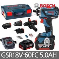 보쉬 충전 만능드릴 GSR18V-60FC 18V 5.0Ah 배터리2개 어댑터4종포함
