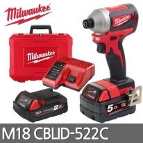 밀워키 콤팩트 충전임팩트드릴 M18 CBLID-522C 5.0AH+2.0AH 배터리2개