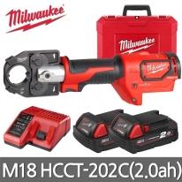 밀워키 충전케이블압착기 M18 HCCT-202C 18V 2.0AH 케이블커터 유압기