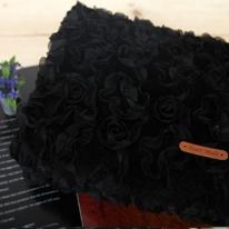 대폭 입체벨보아]꽃잎에앉은로즈-블랙 69609
