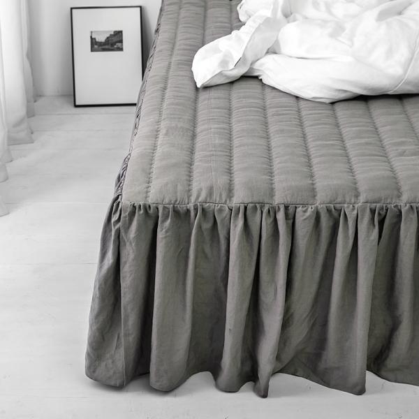 프렌치 린넨 모카그레이 침대커버