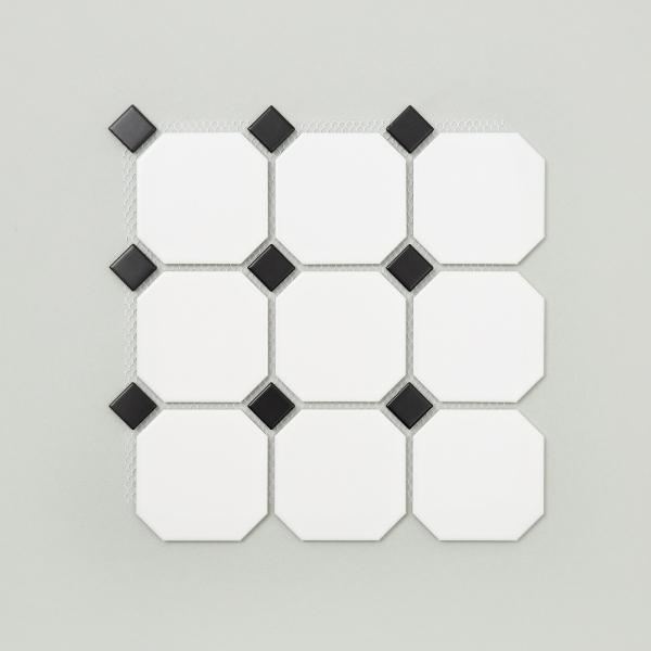 팔각 모자이크 타일 (GO-02 화이트 블랙) 1BOX 11장