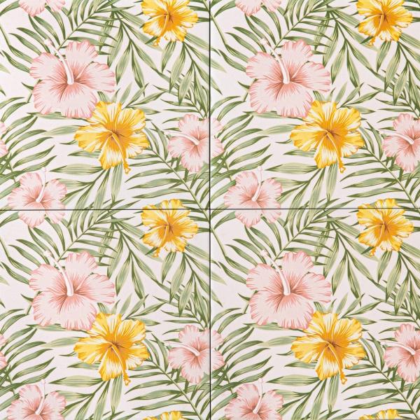 히비스커스 핑크 패턴타일 200*200 (REP-48)  1BOX25장