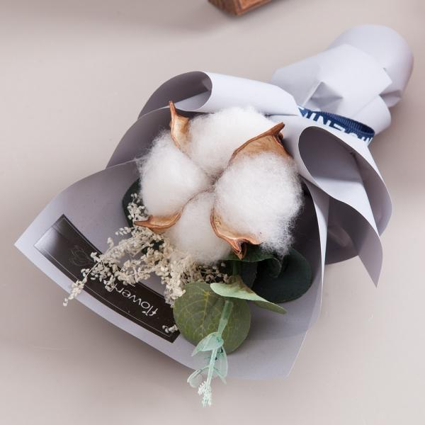 미니목화안개꽃다발 17cm(조화)