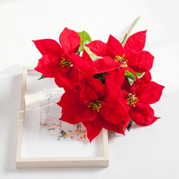 벨벳포인꽃부쉬 대 50cm 크리스마스 조화 장식 TRFART