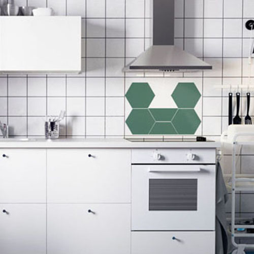 [유니크] 주방/욕실용 방염레쟈 조각시트지(헥사곤 다크그린) / KS60-003