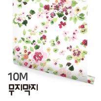 [무지막지] 풀바른 롤실크 벽지 10M / 봄꽃 화이트 / MT10011