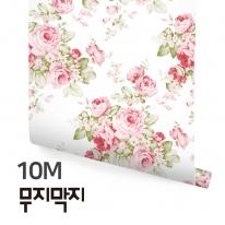[무지막지] 풀바른 롤실크 벽지 10M / 캐네디언 로즈 화이트 / MT10016