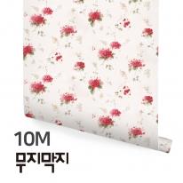 [무지막지] 풀바른 롤실크 벽지 10M / 작은꽃 레드 / MT10024