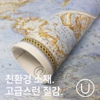 [유니크] 세계지도 포스터형 데코스티커 / 영문 블루
