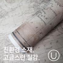 [유니크] 세계지도 포스터형 데코스티커 / 고지도
